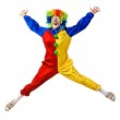 Funny clown jumping over a white background — Stock Photo #12144889