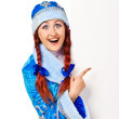 Surprised girl dressing in traditional russian christmas costume — Stock Photo
