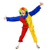 Funny clown standing over a white background — Stock Photo