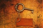 Old key and tag — Stock Photo