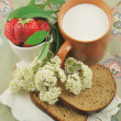 Stock Photo: BREAD, STRAWBERRIES AND MILK