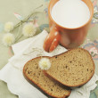 Stock Photo: BREAD AND MILK