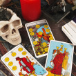 Tarot cards with burning candle — ストック写真