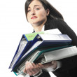 Picture of happy successful businesswoman with folders - Stockfoto