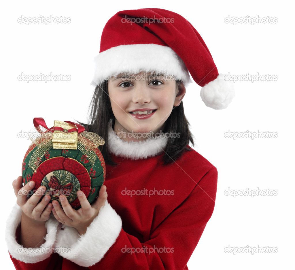Beautiful little girl with christmas decoration on isolated background — Stock Photo #11161923