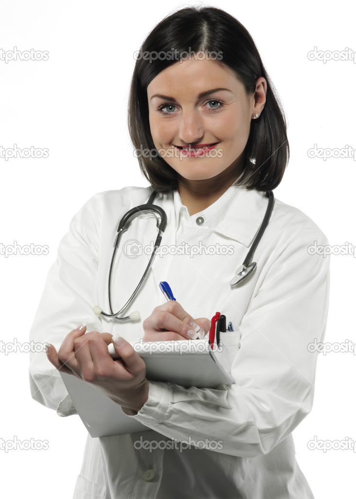 Doctor with book on the white background  Stock Photo #11164817