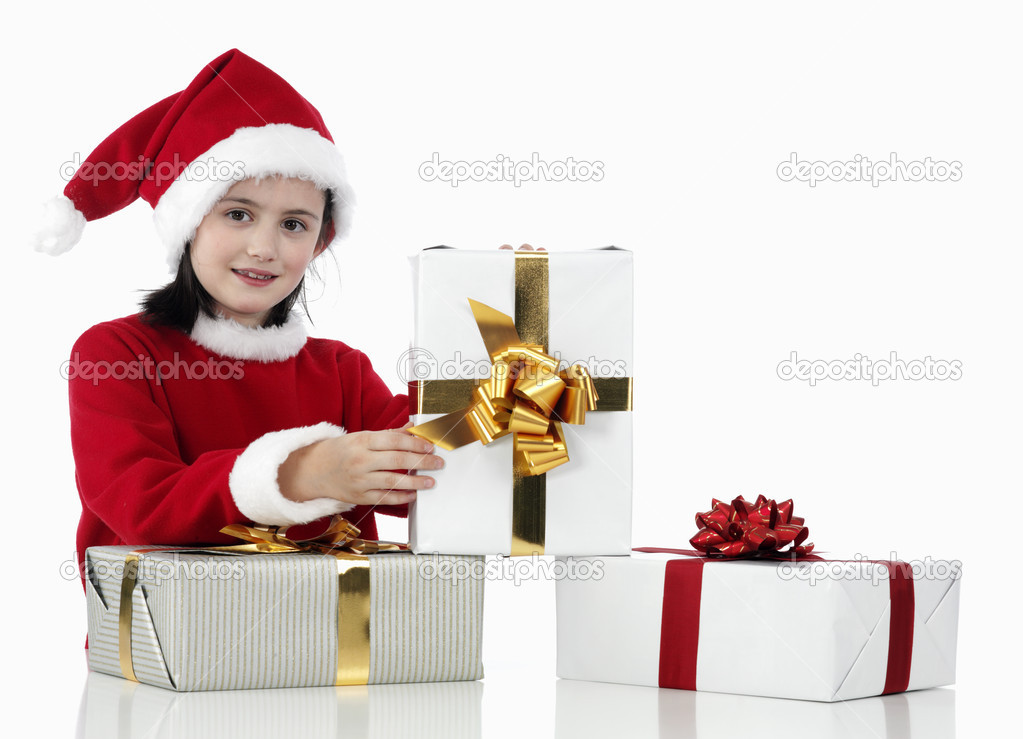 A little girl and xmas presents on white background — Stok fotoğraf #11165513