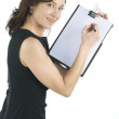 Royalty-Free Stock Photo: Adult secretary shows a blank paper