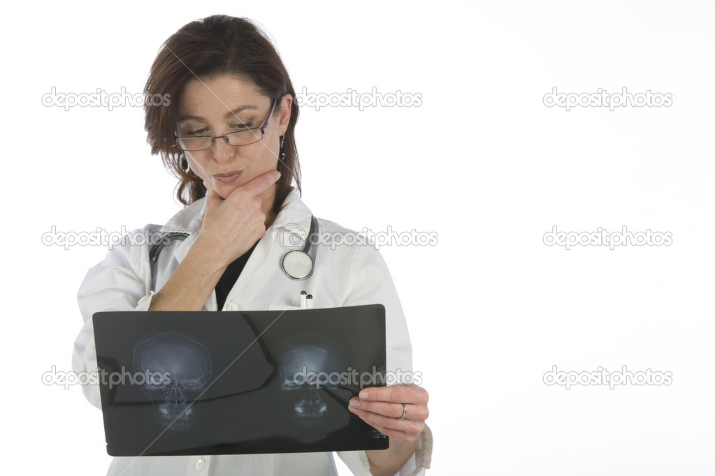 Woman doctor whit radiography a over white background — Stockfoto #11171603
