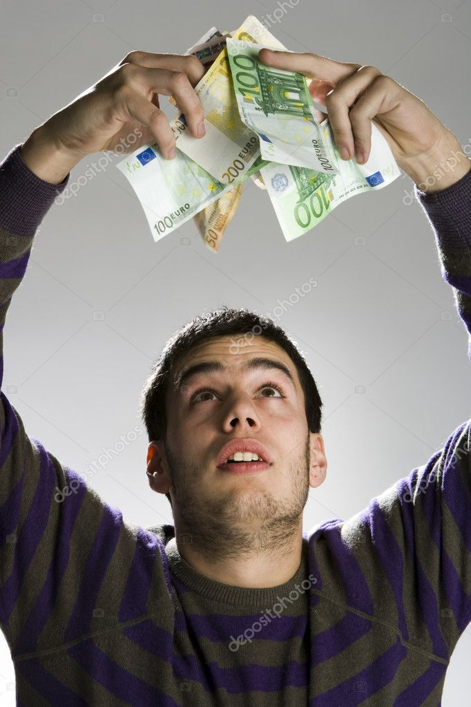 Happy businessman with bundle of euro money, good business! — Stock Photo #11186337