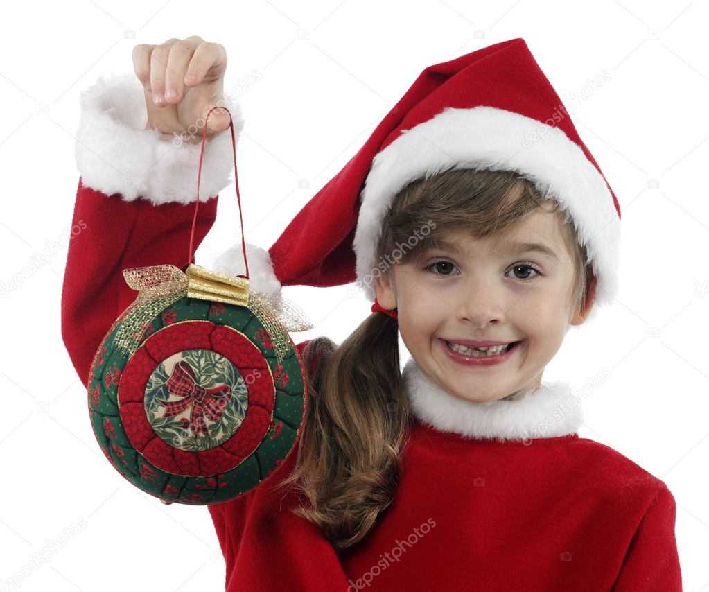 Beautiful little girl with christmas decoration on isolated background  Stock Photo #11188204