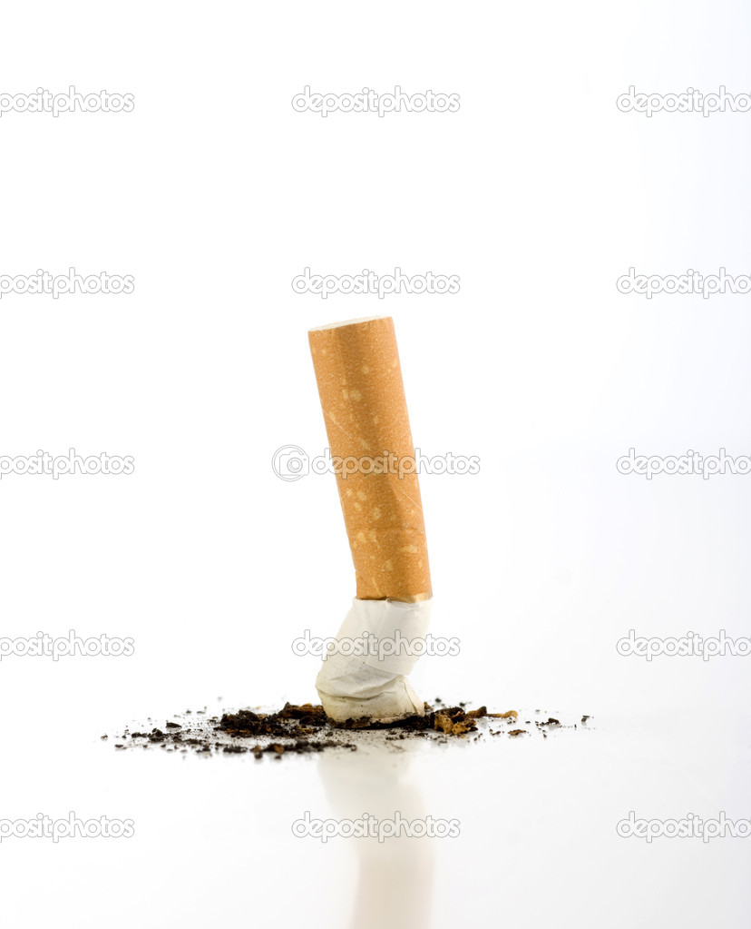 Cigarette butt isolated on white.  Stock Photo #11209050