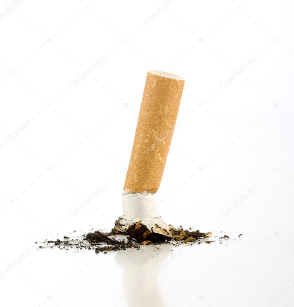 Cigarette butt isolated on white.  Stock Photo #11209060