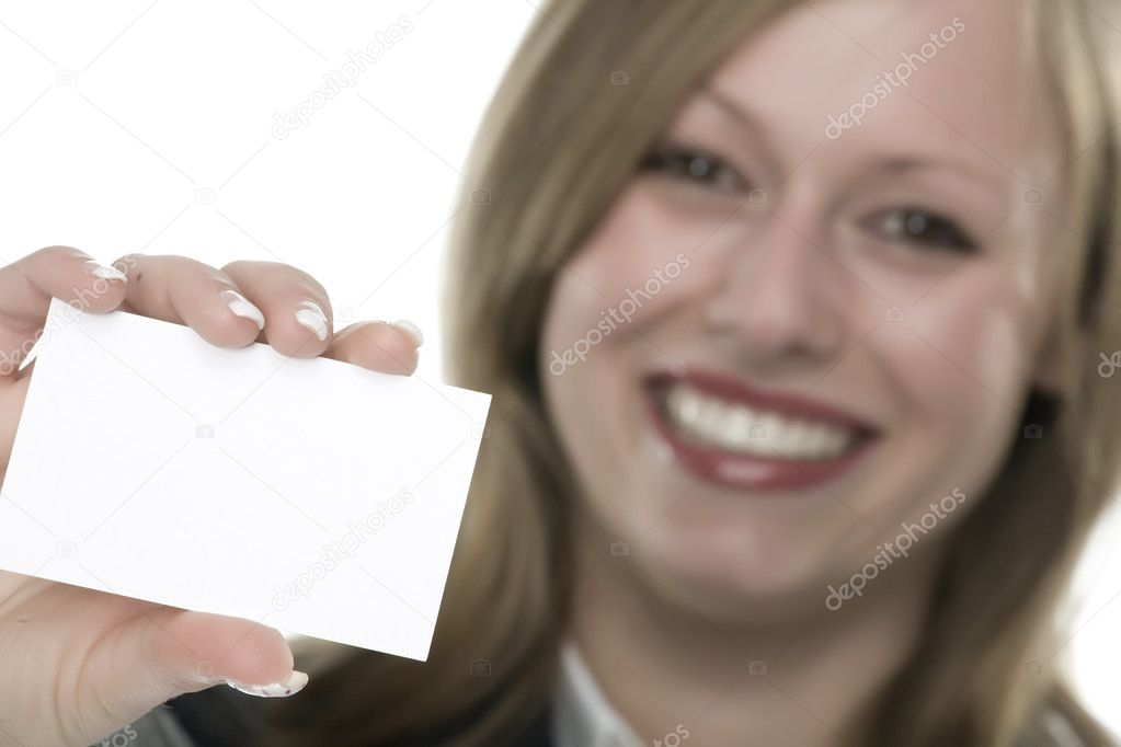 Girl with card for text — Stock Photo #11358544
