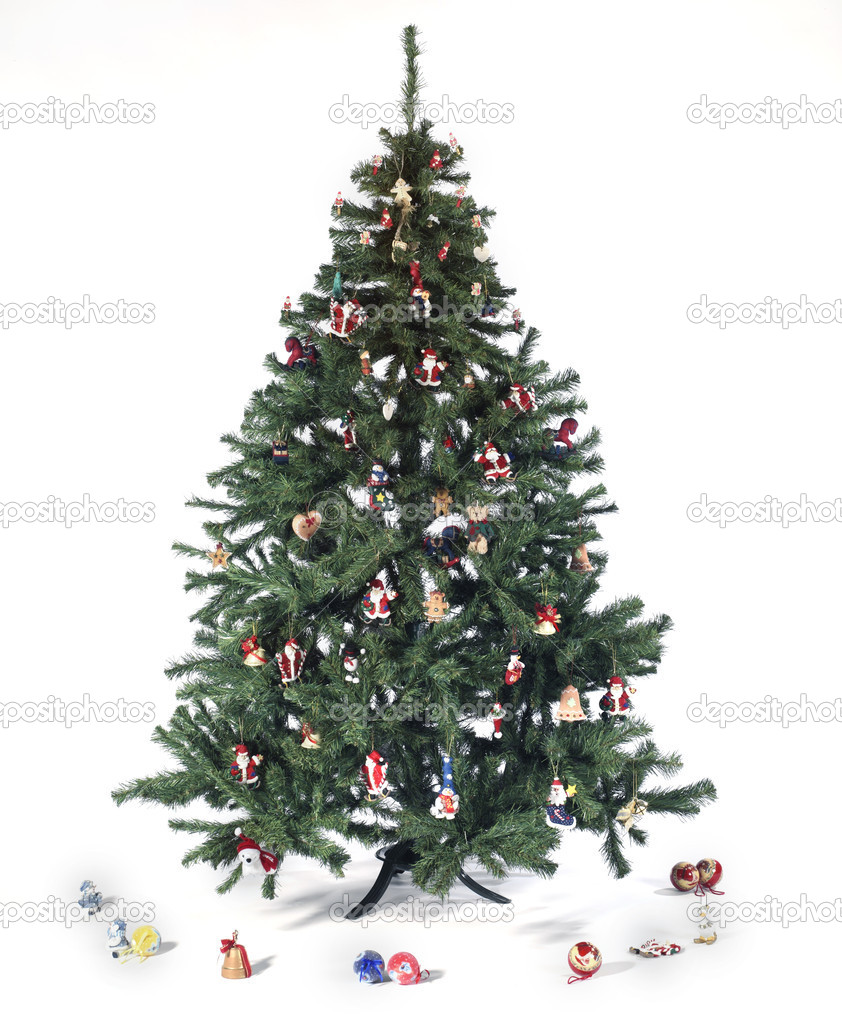 Decorated christmas tree isolated on white background — Stock Photo #11869136