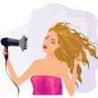 Blond girl with hairdryer — Stock Vector #10963259