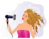 Fille blonde avec sèche-cheveux — Vecteur