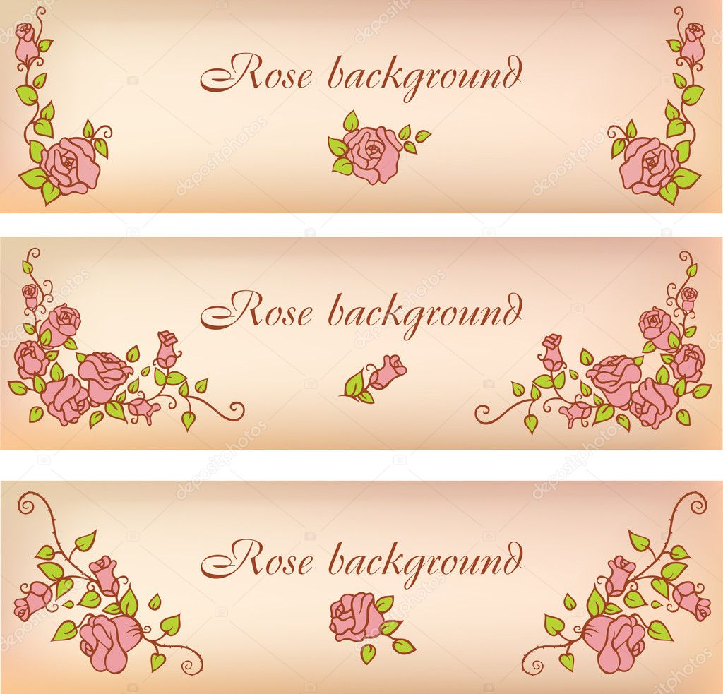 Set of banners with decorative roses — Stock Vector #11178649
