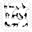 Collection illustrations of black cats — Stock Vector