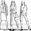 Stock Vector: Illustration of three fashion girls