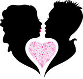 Silhouette of boy and girl in love — Stock Vector