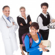 Stock Photo: Diverse group of smiling workers