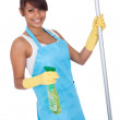 Cheerful woman having fun while cleaning — Stock Photo