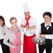 Group of chef and waiters — Stockfoto