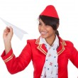 Smiling beautiful stewardess launching a place — Stock Photo