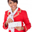 Stock Photo: Portrait of young beautiful stewardess