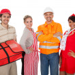 Diverse group of smiling workers — Stock Photo #10869626