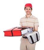 Pizza delivery boy with thermal bag — Stock Photo