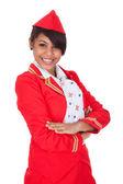 Portret van jonge mooie stewardess — Stockfoto