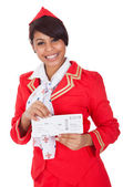Portrait of young beautiful stewardess — Stock Photo