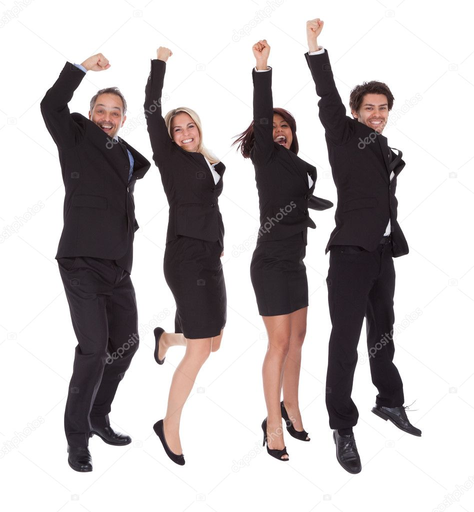 Portrait of multi ethnic team of business rejoicing success on white background  Stock Photo #10863198