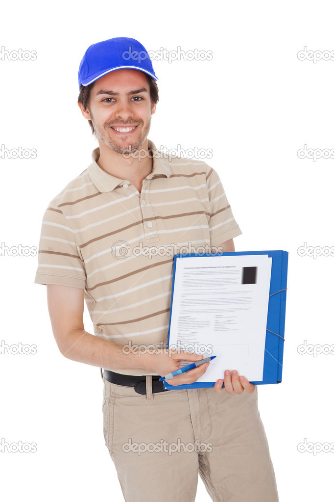 Delivery man asking to sign delivery confirmation. Isolated on white — Stock Photo #10869580