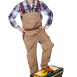 Portrait of repairman standing on toolbox — Stock Photo #10870031