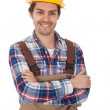 Confident worker wearing hard hat — Stock Photo