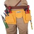 Close-up on worker's toolbelt — Stock Photo