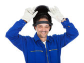 Portrait of confident welder in the mask — Foto Stock