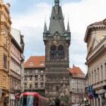 Red tram in Prague, Czech Republic,,, — Stock Photo