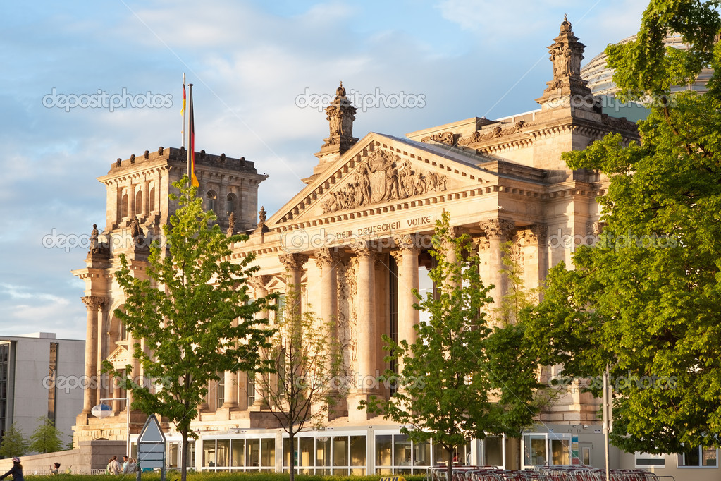 Photo of Reichstag at sunset. Berlin, Germany,,, — Stock Photo #11358707