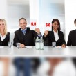 Panel judges holding perfect score signs — Stock Photo