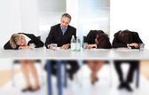 Business sleeping at the meeting — Stock Photo