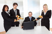 Businessman receiving gold bars — Foto Stock