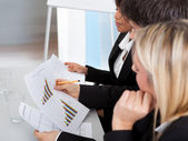 Business at presentation applauding — Stock Photo