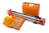 Survey equipment in carrying case — Stockfoto