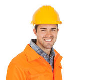 Portrait of worker wearing safety jacket — Foto de Stock