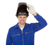 Portrait of confident young welder — Foto Stock