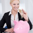 Businesswoman holding euro currency — Stock Photo #12409050